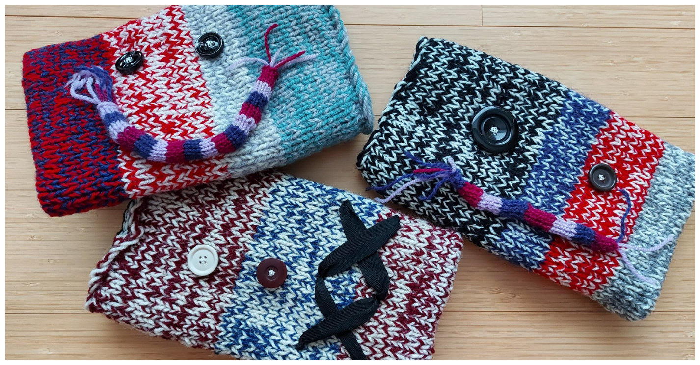 One of the most popular yegSpark service opportunities so far is making twiddlemuffs, cozy knit or crochet handwarmers adorned with fidgets to soothe patients with dementia at Grey Nuns Community Hospital. Member Karen Yeung knit this trio.