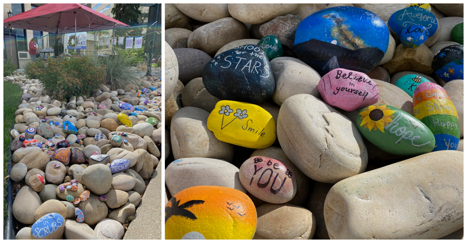 yegSpark members worked on several projects to brighten the visitors area at Edmonton General Continuing Care Centre in summer 2020 after visits had to be moved outside because of the pandemic. They painted dozens of rocks with cheerful, encouraging messages for patients and their families.