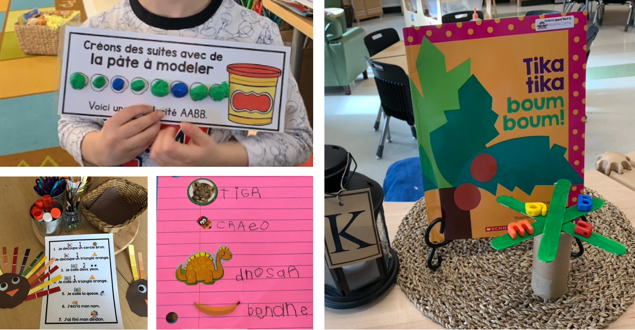 Collage of French Resources and Student Work