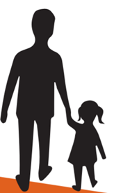 Silhouette of parent walking with their child