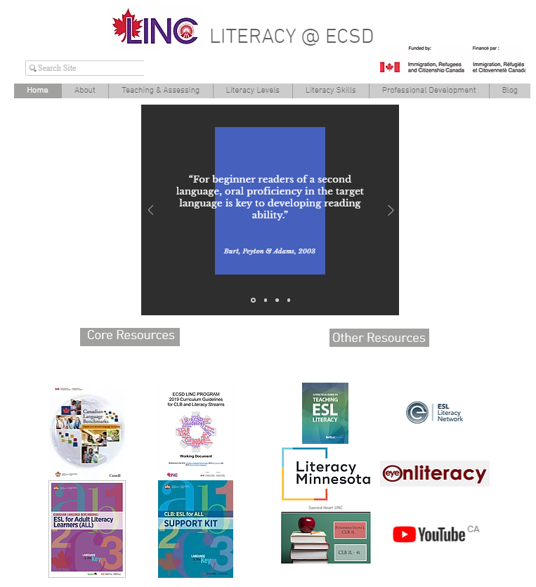 LINC Literacy at ECSD_front page.PNG