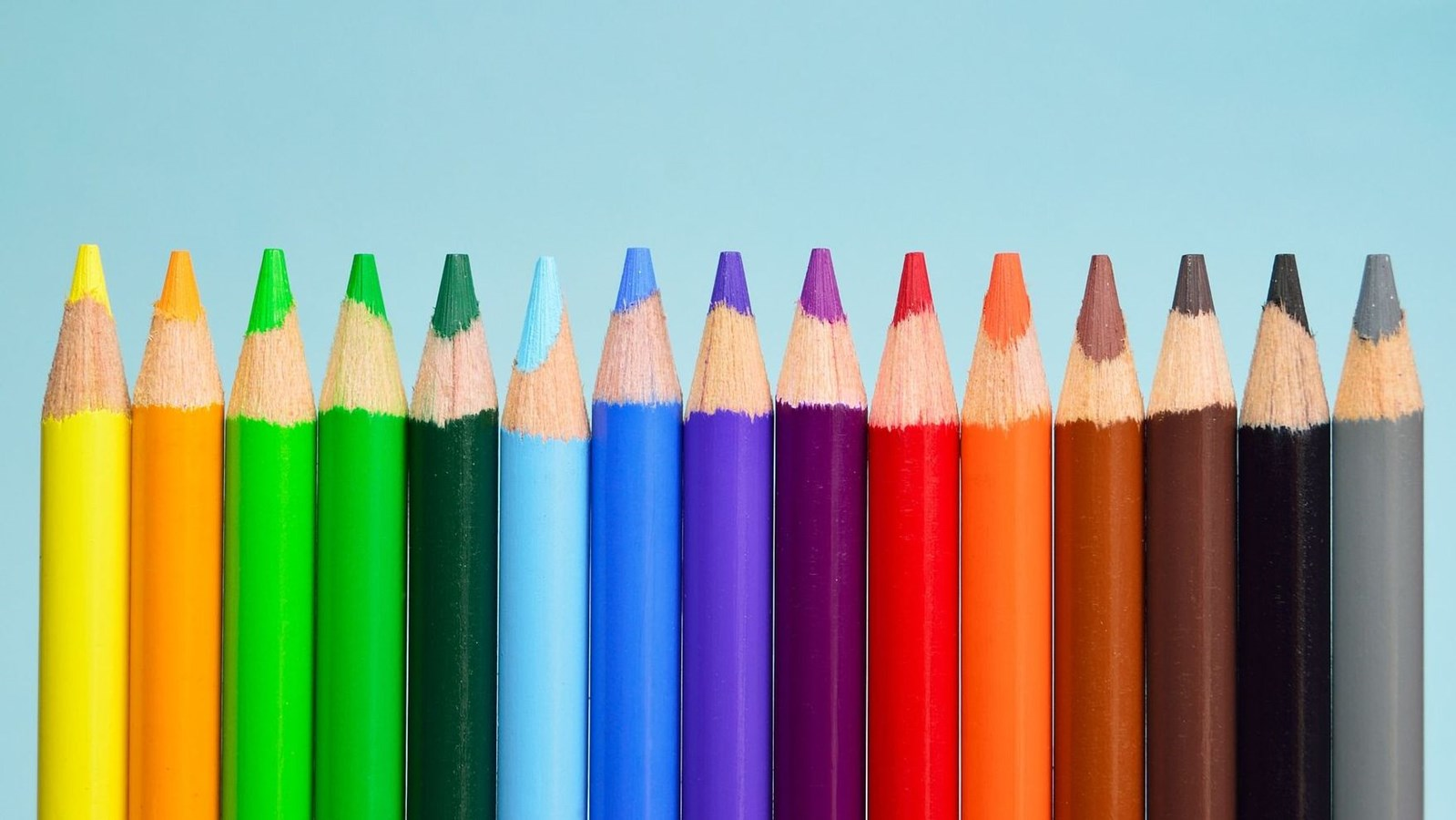 Coloured crayons in various colours
